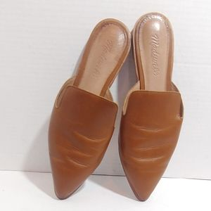Madewell Gemma tan leather mules